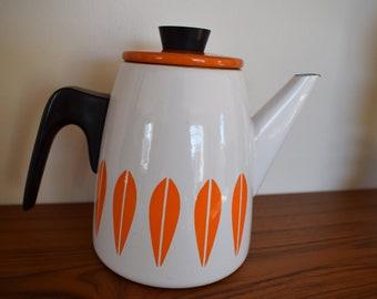 Vintage Cathrineholm coffee pot,  Lotus pattern, Grete Prytz Kittelsen, orange and white
