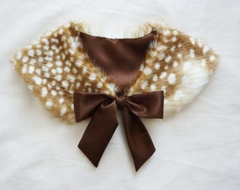 Ribbon Tie Fawn/Deer Fur Collar