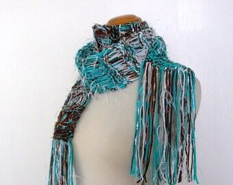 alpine lake. handknit scarf . vegan knitwear . drop stitch medium weight spring autumn fall fashion knit scarf . turquoise brown white
