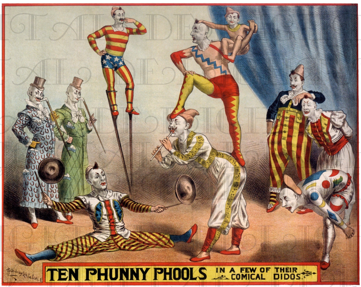 Antique CIRCUS Poster Vintage Clowns Illustration