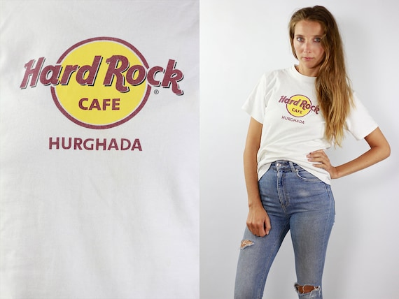 Hard Rock Cafe T-Shirt Hard Rock Cafe Shirt White T-Shirt Hard Rock Cafe Hurghada Vintage Hard Rock T-Shirt White Hurghada T-Shirt White 90s