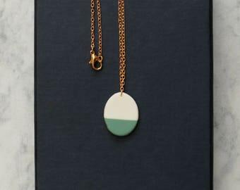 oval porcelain geometric necklace