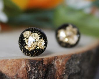Black and Gold Studs / Glitter Earrings / Stainless Steel Earrings / Hypoallergenic Stud Earrings / Titanium Earrings