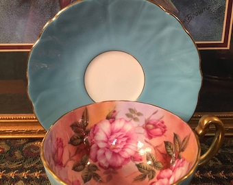 Aynsley Cabbage Rose tea cup and saucer