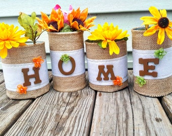 Tin Cans . Cans . Rustic Decor . Centerpiece . Country Decor . Spring . Summer . Fall