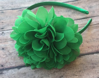 Green Flower Headband - Green Headband - Flower Headband - Toddler Headband - Flower girls headband - Hard headband - Hard band