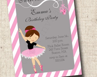 Printable Ballerina Birthday Invitation - Pink and Grey Ballet Slippers - Girls Birthday