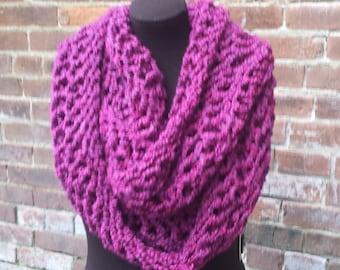 DL - Child Knit Infinity Scarf - Burgundy Knit Circle Scarf - Infinity Scarf - Burgundy Knit Scarf