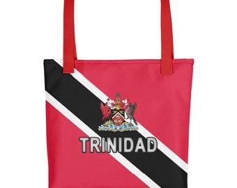 Trinidad Tote Bag, Deluxe Trinidad and Tobago Canvas Bag, Dual Handle Weather Resistant 15 x 15 inch Bag, Trinidadian Beach Bag, Trini Gift