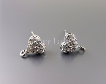 1 pair / 2 pcs petite Cubic Zirconia pave heart earring components, Cubic Zirconia heart crystal earrings 1729-BR