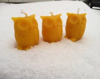 Owl Beeswax Candles -Set of 3 Small Candles
