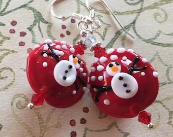 Red Snowman Earrings, Lampwork Jewelry, SRA Lampwork Jewelry, Holiday Jewelry, Christmas Jewelry, Christmas Earrings, Holiday Earrings