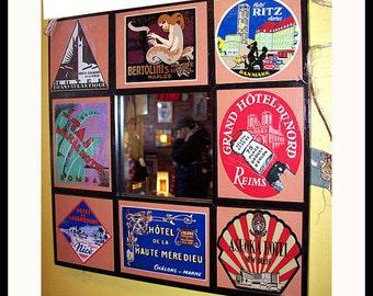 retro travel mirror vintage 1950s luggage label rockabilly kitsch travel sticker wall mirror