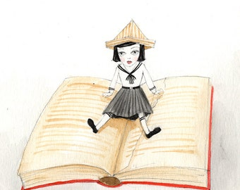 Miniature Girl Reading Book, Paper Hat, Alice in Wonderland - Watercolor illustration 5x5