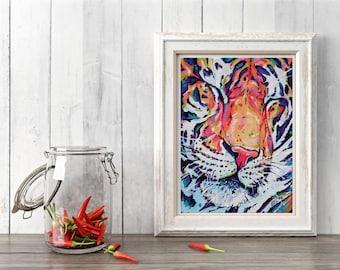Tiger Art Print, Tiger gift, Tiger wall decor, Tiger painting, Tiger wall art print