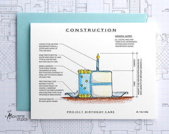 Project Birthday Cake (Blue) Construction - Instant Download Printable Art - Construction Series
