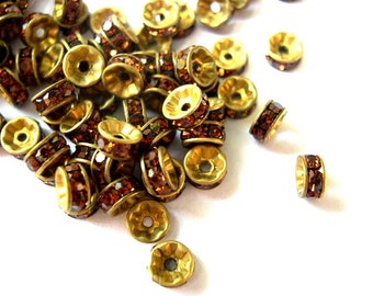 6 Vintage Swarovski rondelle beads amber color crystals rhinestone on brass metal 7mm spacer beads