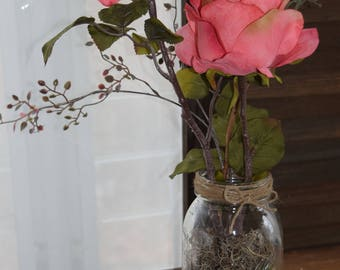 Pink Rose  in Mason Jar