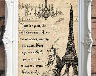 ALICE in Wonderland Quote Art Print. Alice in wonderland decoration. Shabby Chic Decor. Decor Wall Art. Alice in wonderland print Code:A018