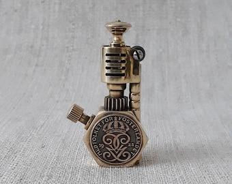 Steampunk lighter, Table gasoline lighter, Vintage lighter.