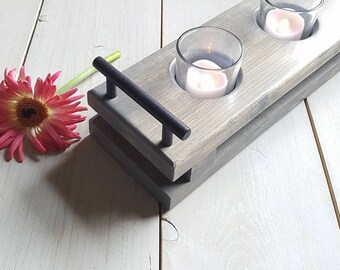 Wood Candle Tray    Wood Candle Holder, Rustic Candle Holder, Wedding Centerpiece, Mantle Decor, Candle Tray, Cabin Decor