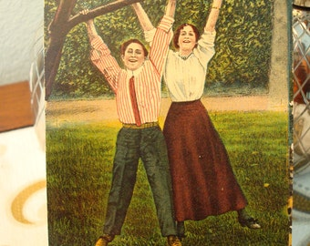 "Vintage ""A Couple of Suspenders"" Postcard - Postmarked Circa 1911 - Good Vintage Condition!!"