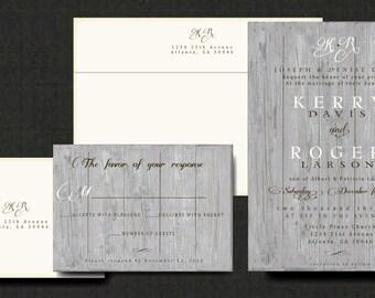 Custom Rustic Woodgrain Wedding Invitation - Rustic Pine Cone Invitation Customize colors