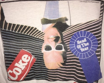 """1987 Max Headroom Coke T Shirt XL! """"Ahead of Our Time"""" Catch the Wave Official Promo Coca Cola Tee"""