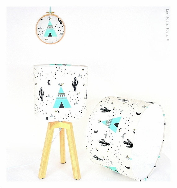 CACTUS & CO, printed cotton Lampshade tripod lamp.