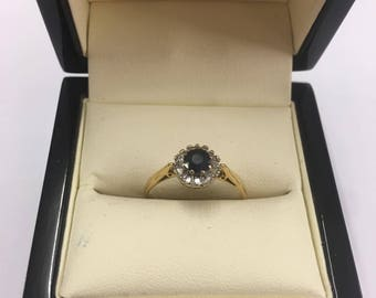 18ct Yellow Gold Sapphire and Diamond Cluster Ring Size P
