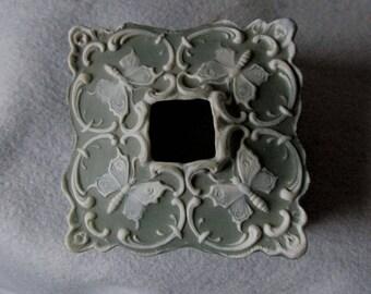 Antique Jasperware Art Nouveau Hair Receiver with Butterflies
