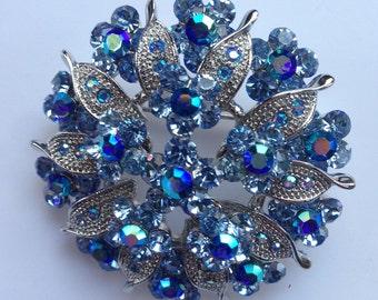 Blue Aurora Borealis Rhinestone Brooch