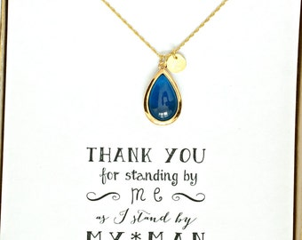 Blue Bridesmaid Necklace Gold Initial, Bridesmaid Navy Blue Personalized Necklace, Wedding Gifts, Bridesmaids Gift, HP1