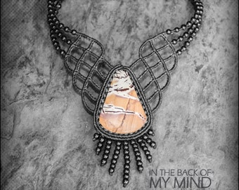 Elegant Necklace Mexican Jasper Macrame