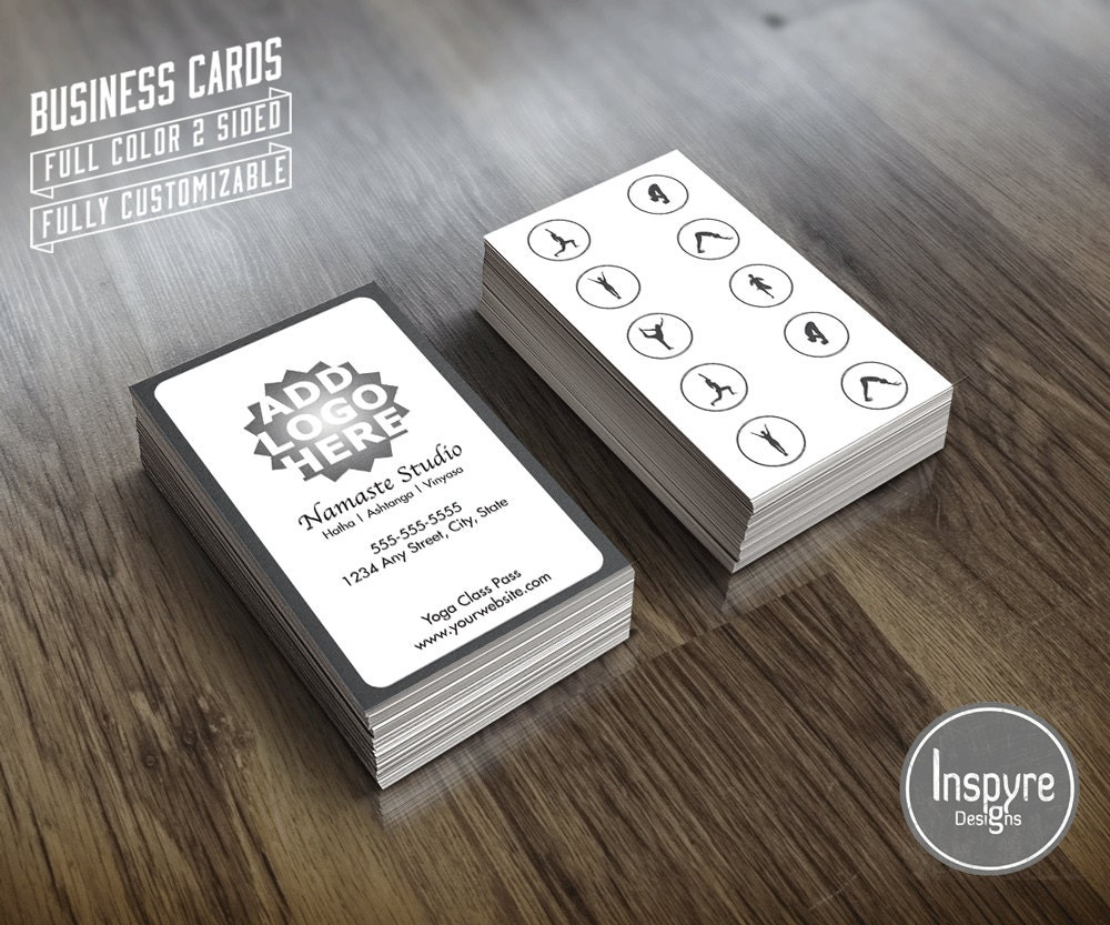 Yoga 10 class pass business card template zoom reheart