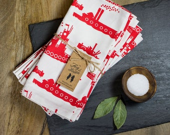 Cloth Napkins - Set of 4 - Red Tugboats - GOTS Certified - Organic Dinner Napkins - Table Napkins - Tugboats - Vintage Steamers