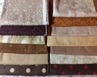 Brown, Cream and Tan Fabric Bundle - 13 fabrics - 100% cotton