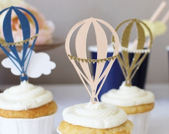 Hot Air Balloon Cupcake Toppers (Custom Colors)