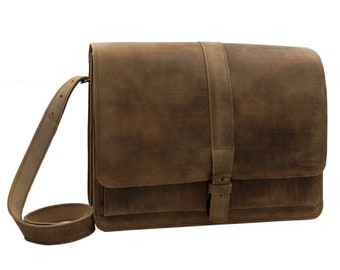 14 inch Laptop Bag-briefcase valentine leather in new antique brown-handmade in Germany