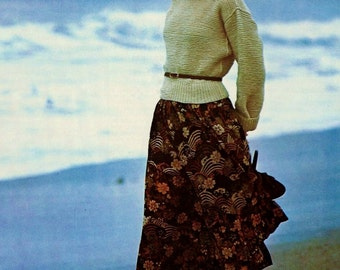 Easy Turtleneck Sweater Vintage Knitting Pattern Instant Download