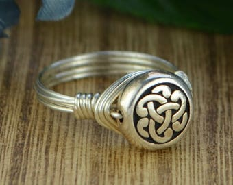 Celtic Knot Wrapped Ring- Sterling Silver, Yellow or Rose Gold Filled Wire with Celtic Knot Bead - Any Size 4 5 6 7 8 9 10 11 12 13 14