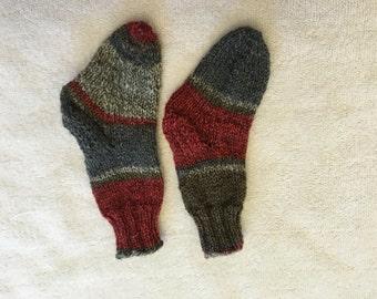 Gray - Red - Brown Stripe Children's Hand Knit Socks