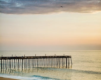 Pier Photograph, Ocean Art, Beach Photo or Canvas, Beach Cottage Wall Art, Nautical Decor, Summer Landscape, Seascape, Ocean Waves - Gently