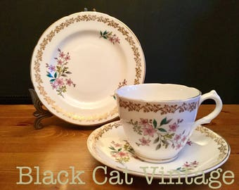 Royal, Grafton, Vintage, Fine, English, Bone, China, Floral, Spring, Trio, 10 available, Tea, cup, saucer, plate
