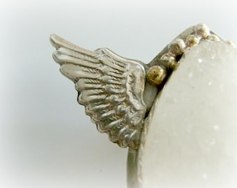 Guardian angel silver jewelry - Metalwork big druzy Agate cabochon jewelry - Snow angel sterling silver pin