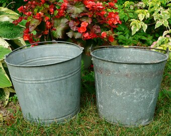 2 Vintage #10 Shabby Galvanized Metal Garden Farm Water Grain Bucket Think SPRING