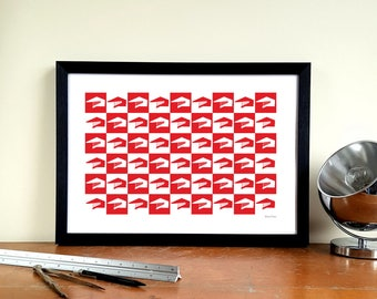 "Barnsley FC A3 Minimalist Graphic Design Art Print - Oakwell ""West Stand Pop Art"""