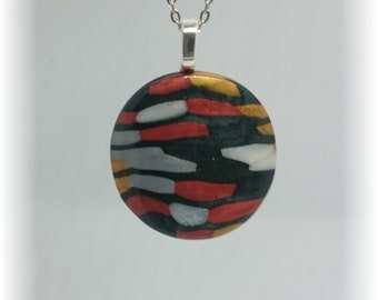 Metallic colors - Necklace with Circle Pendant silver