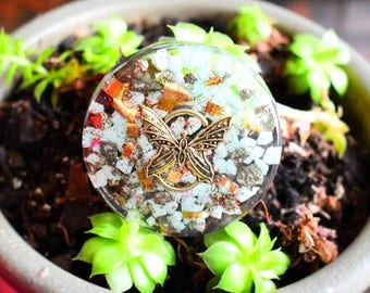 """ORGONITE MAGNET """"Butterfly"""" Amazonite Pyrite"""