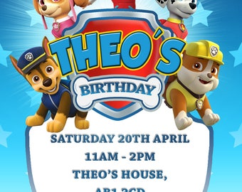 Personalised Paw Patrol Party Invitations and Envelopes x 10